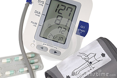 Blood pressure monitor,  on white