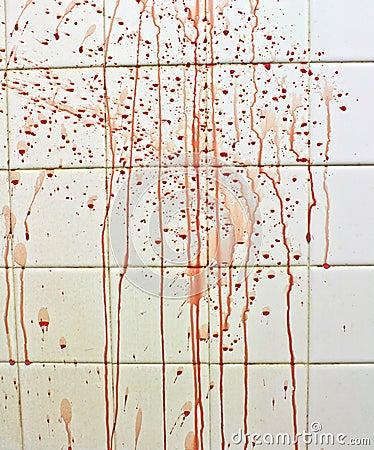 Blood with streaks on bathroom