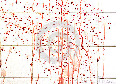 Blood with streaks on bathroom tiles