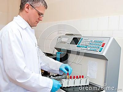 Blood test laboratory worker