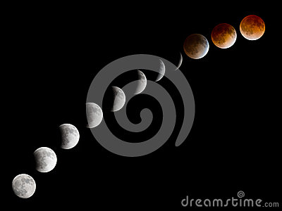 Bloodmoon lunar eclipse phases room for copy text