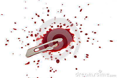 Bloody blade with blood splatter