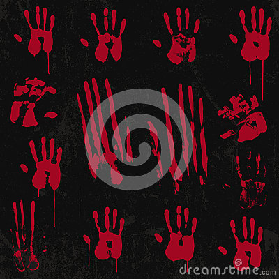 Free Bloody Hand Print Elements Set 01 Stock Images - 35556384