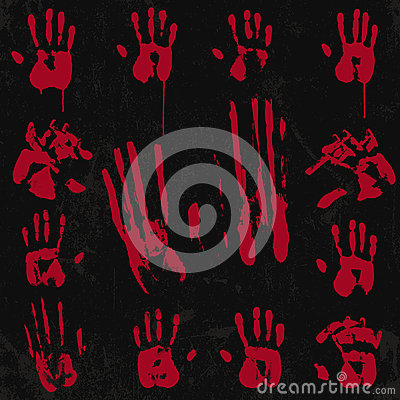 Bloody Hand Print Elements Set 02