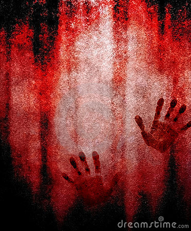 Free Bloody Hand Print On Wall Stock Images - 14993974