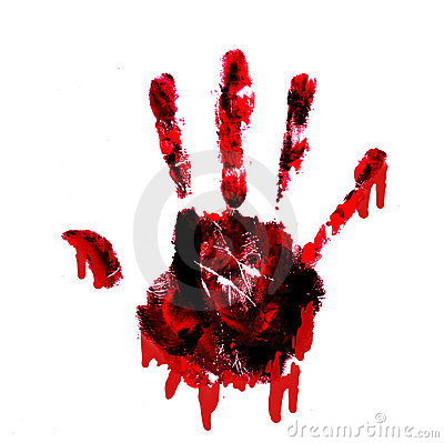 Bloody handprint with drips isolated on white back