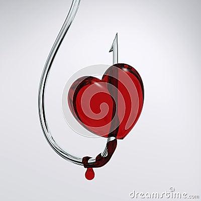 Bloody heart on hook
