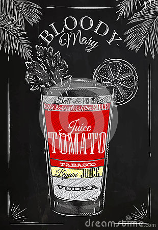 Free Bloody Mary Cocktail Chalk Stock Photography - 50266112