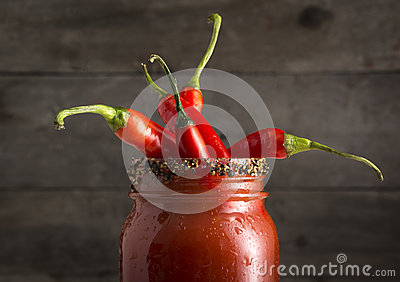 Bloody Mary Cocktail with Red Jalapeno Peppers