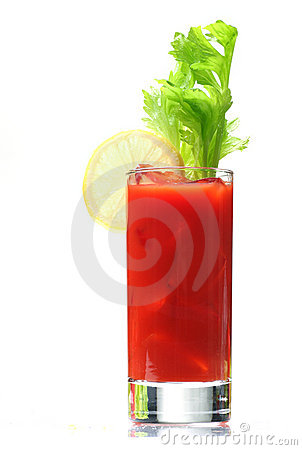 Bloody mary with lemon wedge
