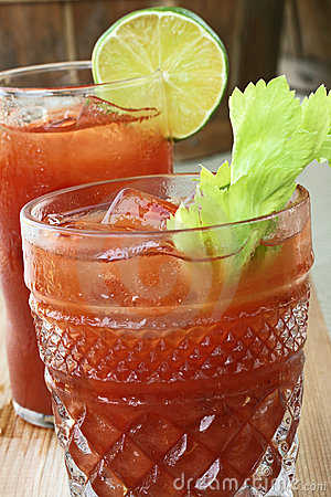Bloody Marys with celery and lime