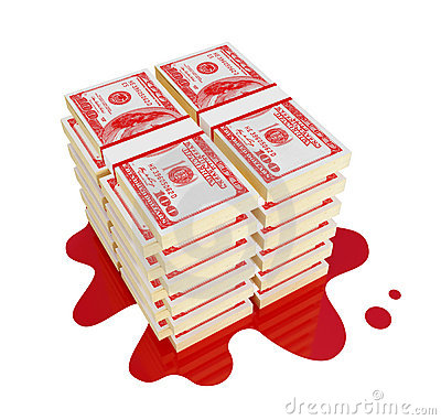 Bloody money concept.