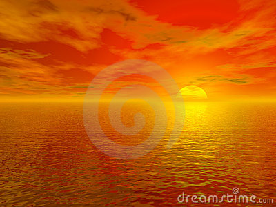 Bloody red sunset over ocean water 3d rendered
