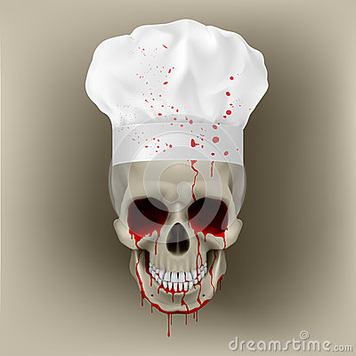 Bloody skull cap chef.