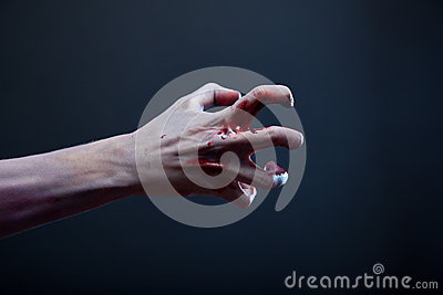 Bloody zombie hand, real body-art