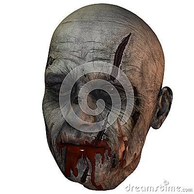 Bloody zombie head
