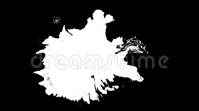 Bloom ink. Beautiful white watercolor ink drops transition on black background,. Beautiful white watercolor ink drops transition on black background, paint bleed stock footage