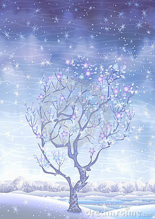 Blooming snow-covered winter fairy-tale tree