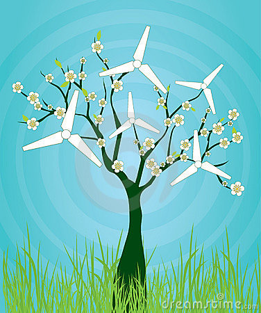 blooming tree with windmills