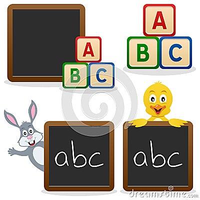 Bloques de ABC de la pizarra de la escuela
