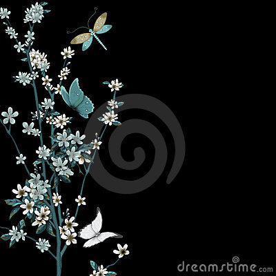 Free Blossom And Insects Vector Royalty Free Stock Images - 13593769