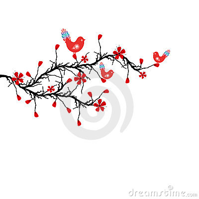 Blossom Cherry and birds