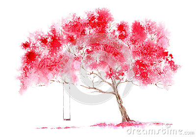 Blossom cherry tree and swing. Cartoon Illustration