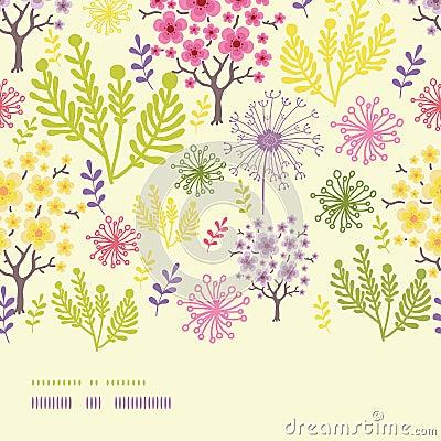 Blossoming trees horizontal border seamless