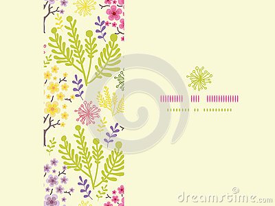 Blossoming trees horizontal frame seamless pattern