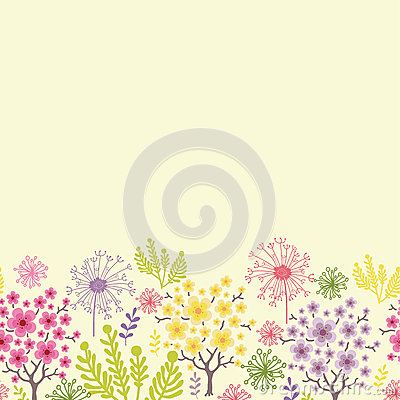 Blossoming trees horizontal seamless pattern