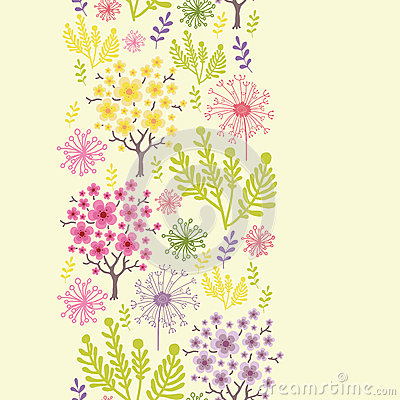 Blossoming trees vertical seamless pattern background border