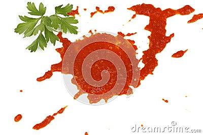 Blot of tomato sauce
