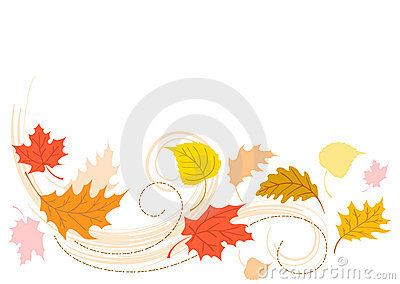 Blowing Autumn Fall Leaves/eps Vector Illustration