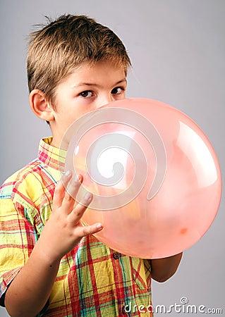 Blowing balloon