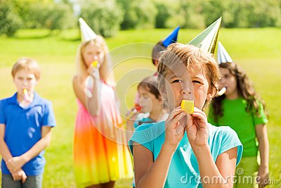 Blowing Birthday Whistle Royalty Free Stock Photos Image