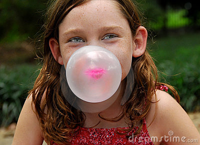 Blowing bubble with gum