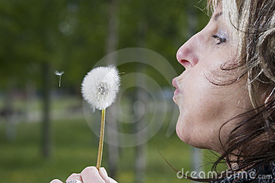 Blowing for dandelion