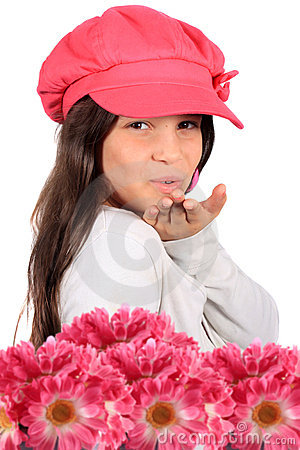 Blowing kiss and flowers