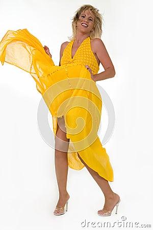 Blowing yellow dress