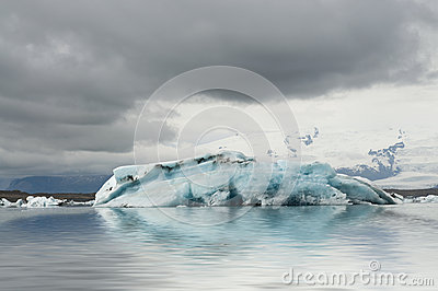 Blu iceberg in the glacier lagoon