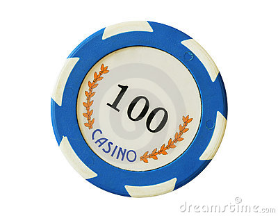 Blue 100 dollars casino chip
