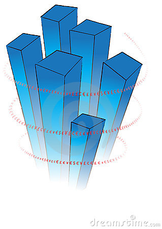 Blue 3D chart with red valuta signs