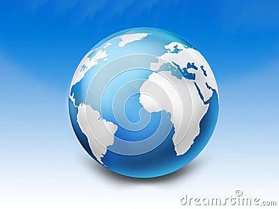 blue 3d glossy globe