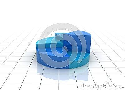 A blue 3d pie chart graph illustration