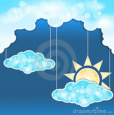 Blue abstract background with clouds and sun