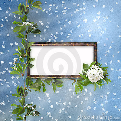 Blue abstract background with frame