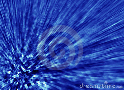 Blue abstract background light streaks from hexago
