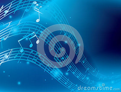 Blue abstract background with music notes - eps