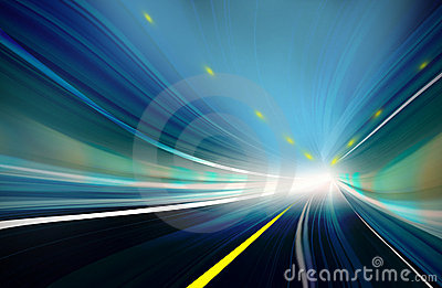 Blue Abstract blurred speed motion