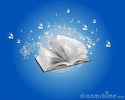 Blue Abstract Book and Melody Backround